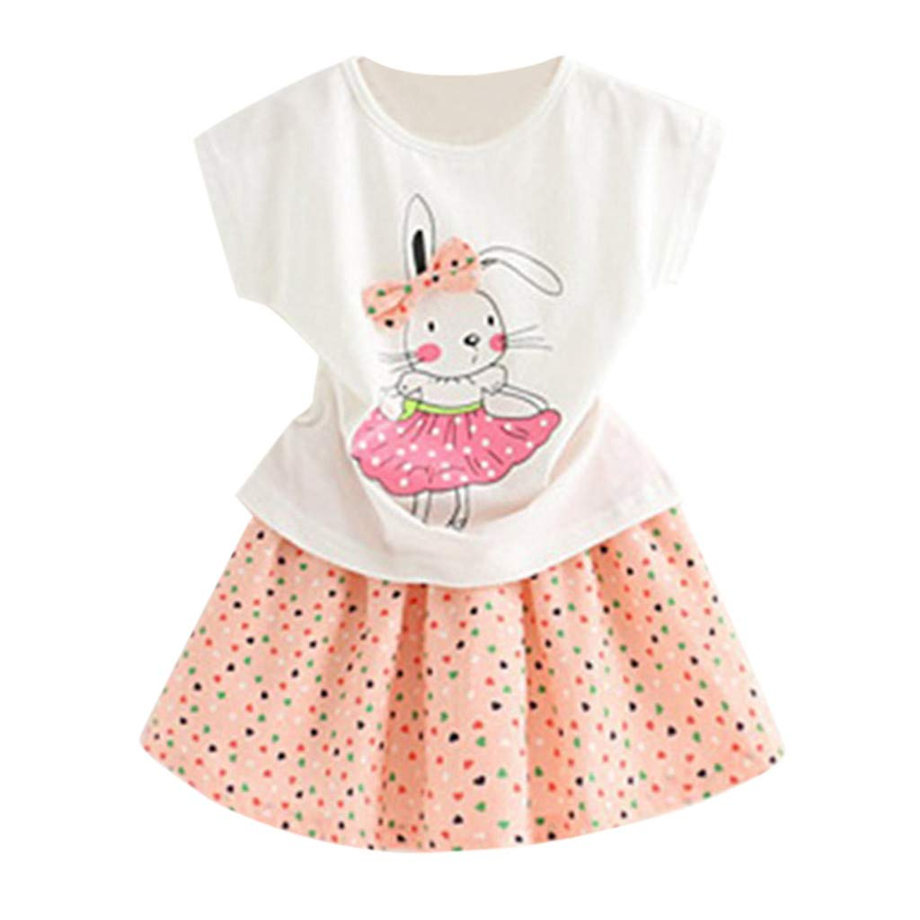 NUWFOR Toddler Kids Baby Girl Outfits Clothes Cartoon Rabbit T-Shirt Tops+Dot Skirt Set(Pink,3-4 Years)
