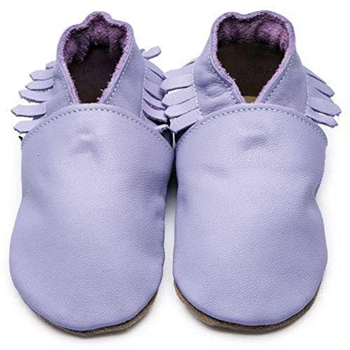 Inch Blue Mädchen/Jungen Schuhe für den Kinderwagen aus luxuriösem Leder - Weiche Sohle - Mokassins Flieder