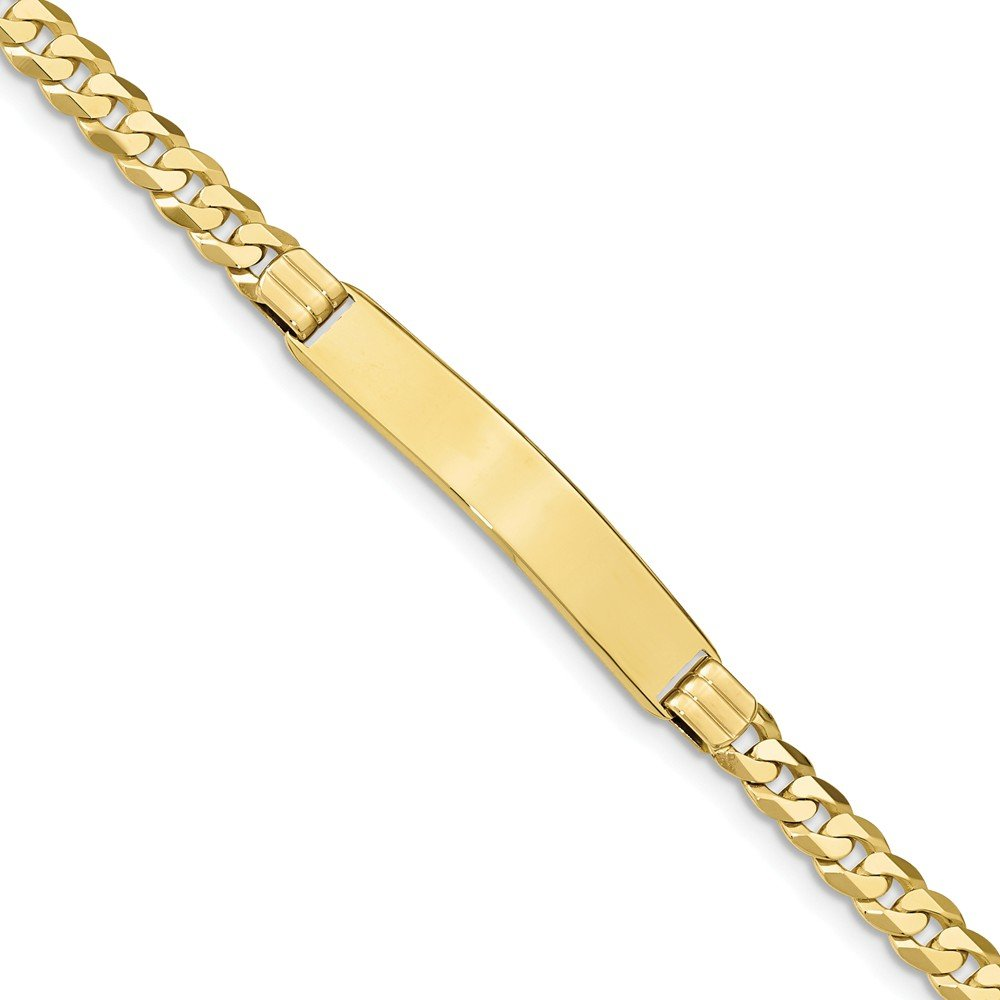 Solid 10k Yellow Gold Flat Cuban Curb Link ID Bracelet 7'' - with Secure Lobster Lock Clasp (7.5mm)