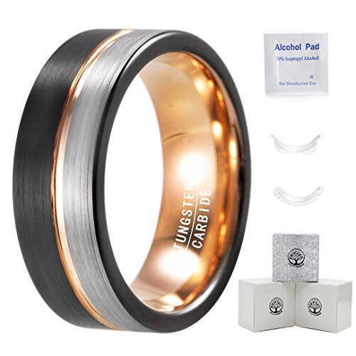 Mens Tungsten Carbide Wedding Band 8mm Rose Gold Line Wedding Rings for Men Black and Silver Brushed (Mens Ring Transparent)