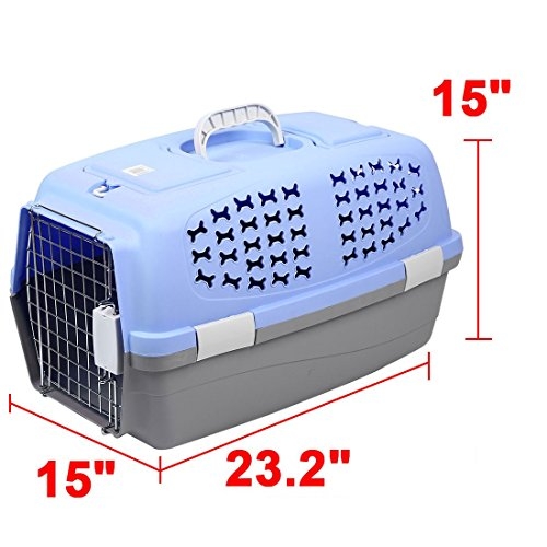 DealMux Plastic Outdoors Travel Meshy Transport Cages Airways Box Pet Carrier 59x38x38cm Blue by DealMux (Image #1)