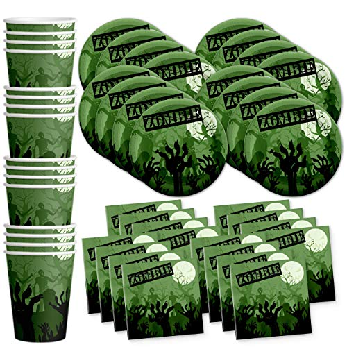 (Zombie Birthday Party Supplies Set Plates Napkins Cups Tableware Kit for 16 by Birthday)