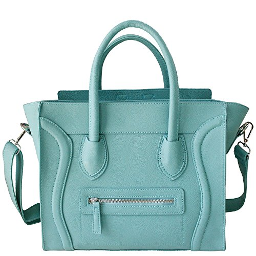 Tote Style Faux Womens Smile Leather Studded Handbag Designer Blue 5q4wfY