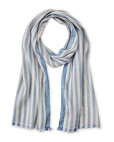 Linen Blend Scarf - Versace Women's Striped Linen Blend Scarf w Greek Key Trim (Blue/White)