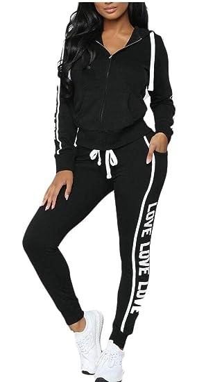 Buy jiejiegao Women's Sport Suits Active Top Bottom Sets Sweatshirt Pant 2  Piece Outfits Black M at Amazon.in