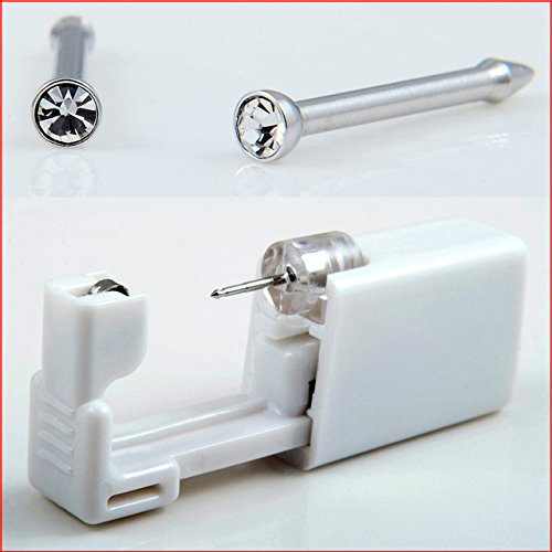 Disposable Sterile Ear Nose Piercing Kit Tool Stud Safety Portable Nose Piercing Kit (Nose Silver White)