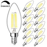 Dimmable E12 Candelabra LED Bulbs 40W Equivalent, Daylight White 5000K, 4W Filament LED Chandelier Light Bulbs, B11 Vintage Edison Clear Candle lamp, Decorative Candelabra Base, Pack of 12