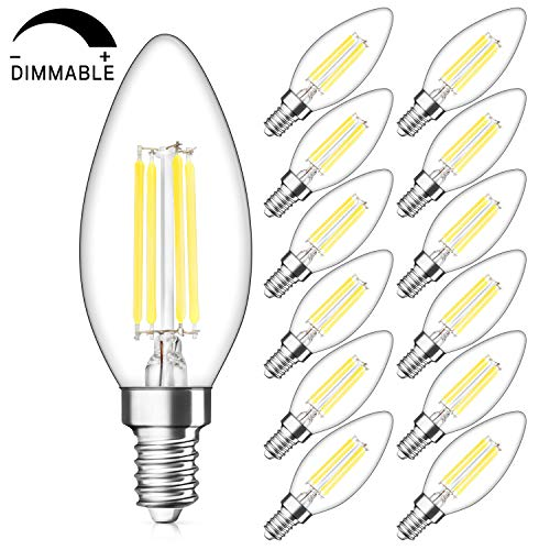 Candelabra Base Incandescent Lamp - Dimmable E12 Candelabra LED Bulbs 40W Equivalent, Daylight White 5000K, 4W Filament LED Chandelier Light Bulbs, B11 Vintage Edison Clear Candle lamp, Decorative Candelabra Base, Pack of 12