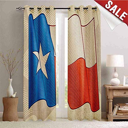 Hengshu Texas Star Waterproof Window Curtain Flapping Texan Flag Lone Star Pattern with Retro Effect Americana Room Darkening Wide Curtains W72 x L84 Inch Vermilion Beige Blue