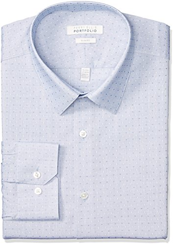 Perry Ellis Men's Slim Fit Performance Dobby Dress Shirt, Light Blue, 15.5 32/33 by Perry Ellis