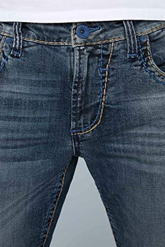 Camp David NI:CO jeansy męskie z kolorowymi szwami: Odzież