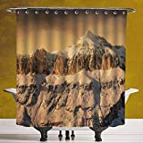 SCOCICI Decorative Shower Curtain 3.0 [ Farmhouse Decor,Surreal Saturated Photo of Italian Twin Mountain Peaks with Silent Overcast Sky,Sepia ] Bathroom Accessories with Hooks