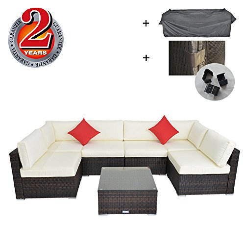 Garden Furniture Rattan Sofa Set PE Wicker furniture Patio Lawn Sofas Cushioned With Rain Cover and Clip Connectors Brown Rattan and Beige Cushion Outime price