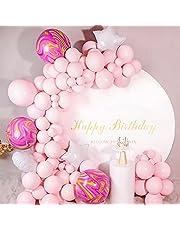 Ballon Garland Kit, 111pcs Ballonnen Boog Kit met Macaron Roze Ballonnen, Ster Ronde 4D Roze Agaat Ballonnen voor Meisje Verjaardag Baby Shower Party Bruiloft Decoratie