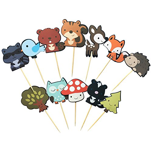 36-pack Cute Woodland Creatures Cupcake Toppers Picks, Woodland Animal Friends Cake Toppers, Kids Woodland Theme Baby Shower Birthday Party Cake Decoration Supplies. -