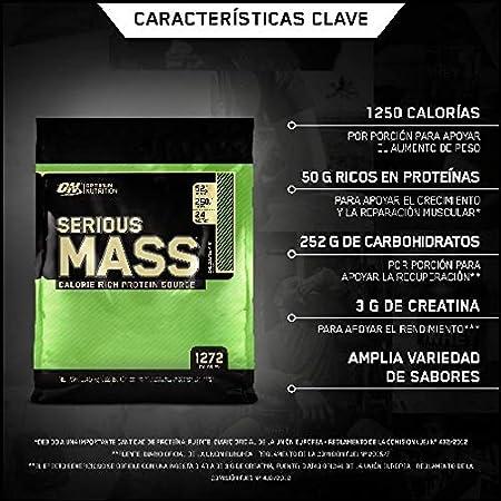 Optimum Nutrition Serious Mass Proteina en Polvo, Mass Gainer Alto en Proteína, con Vitaminas, Creatina y Glutamina, Chocolate y Menta, 16 Porciones, ...