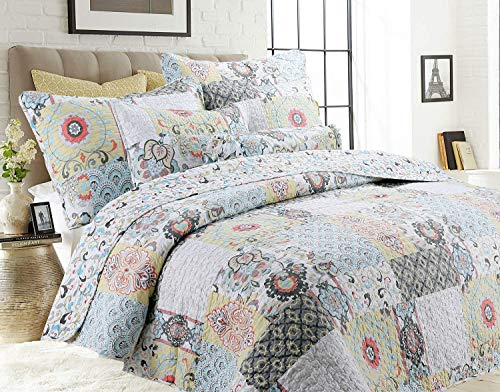 (Cozy Line Home Fashions Moorea Coral Turquoise Yellow Grey Flower Print Patchwork 3-Piece Bedding Quilt Set, Reversible Coverlet, Bedspread, Gift for Women (Moorea, King - 3 Piece))