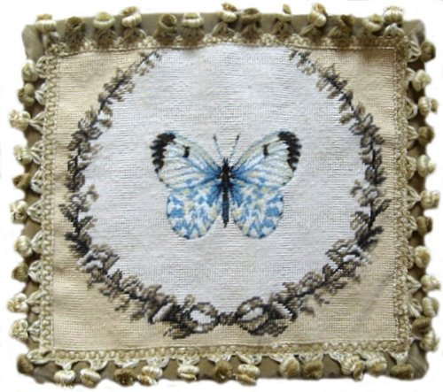 (Deluxe Pillows Blue Butterfly - 14 x 16 in. needlepoint pillow )