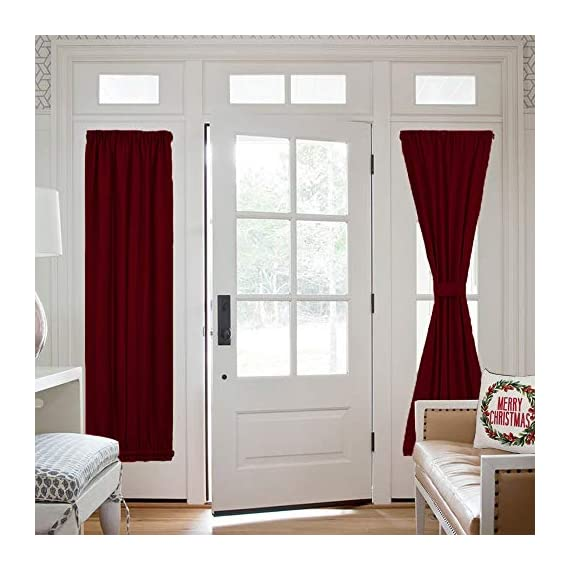 """NICETOWN Blackout Draperies Curtains for Doors - Functional Thermal Insulated Sidelight Blackout Door Panel Curtains Christmas Holiday Decor, 25x72 - Burgundy(2 Panels) - PRODUCT INFO.: Package comes with 2 panels of door curtains. Each panel measuring 25 inches wide by 72 inches long comes with matching adjustable TIEBACK. 2 rod pockets(diameter: 1"""" each)on the both top and bottom sides give the curtains a nice fit. NICE FUNCTION: Made of triple weave blackout material, these blackout door curtains can block 85%-142% harmful lights and UV rays out. By a special weaving way, the curtain prevents hot air in summer and cold wind in winter from entering the room. STYLISH&PRIVACY: Designed for glass / glazed doors. Pure color are suitable the most home decoration styles. Adjustable tie backs can flexible control the light enter into the room, you can tie up for decorating room or full shade for keeping privacy. - living-room-soft-furnishings, living-room, draperies-curtains-shades - 51gJwHZXQzL. SS570  -"""