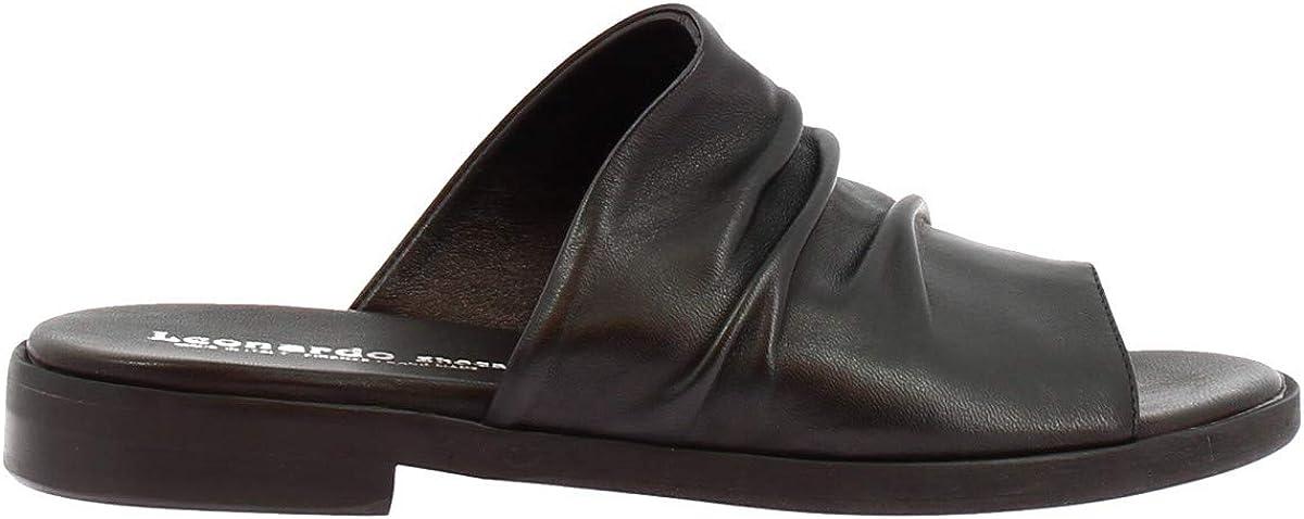 Leonardo Shoes Sandalias Bajas para Mujer Hechas a Mano Piel Becerro Negra - Número de Modelo: Lisa 03 Nappa Nero Negro