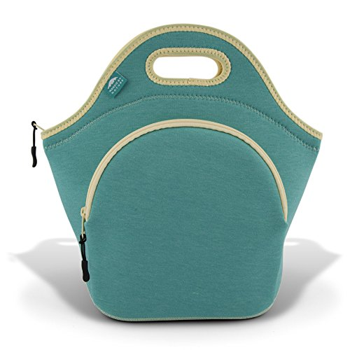 Nordic By Nature Premium Collapsible Lunch Bag Tote - Large Lunch Bags for Women Insulated Neoprene Mens Lunch Bags - Soft Cotton Feel, Premium Stitching, Outside Pocket, Washable (L) Lagoon