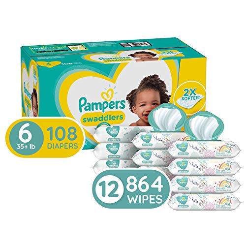 Diapers Size 6, 108 Count and Baby Wipes – Pampers Swaddlers Disposable Baby Diapers, ONE Month Supply with Pampers Sensitive Water Baby Wipes, 864 Count