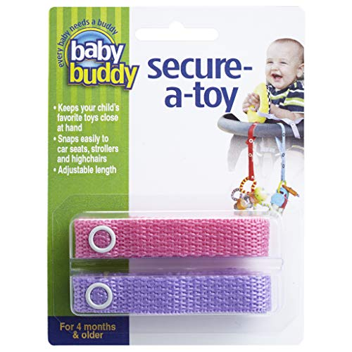 Baby Buddy Secure-A-Toy - Straps Toys, Teether, or Pacifiers to Strollers, Highchairs, Car Seats- Safety Leash With Adjustable Length to Keep Toys Sanitary & Clean, Pink/Lilac 2 Count