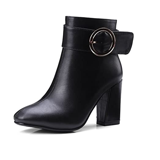 Women PU Thick Heels With Round Buckle Boots