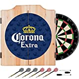 Officially Licensed Corona Extra Design Deluxe Wood Cabinet Complete Dart Set