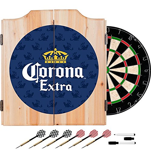 Officially Licensed Corona Extra Design Deluxe Wood Cabinet Complete Dart Set by TMG
