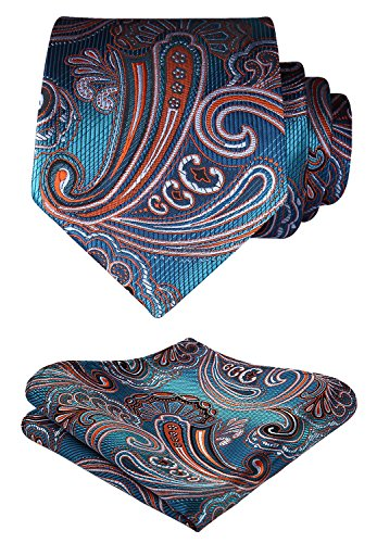 HISDERN Extra Long Floral Paisley Tie Handkerchief Men's Necktie & Pocket Square Set (Aqua & Orange) (Necktie Floral Paisley)