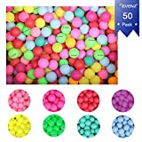 KEVENZ 50-Pack Beer Ping Pong Balls, Assorted Color Plastic Game Table Tennis Ball