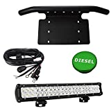 Front License Plate Holder Bracket & Billet Aluminum Green Diesel Fuel Cap & 20-inch 120W Combo LED Light Bar w/wiring kit Fit 2013-2018 DODGE RAM 1500 2500 3500 Models