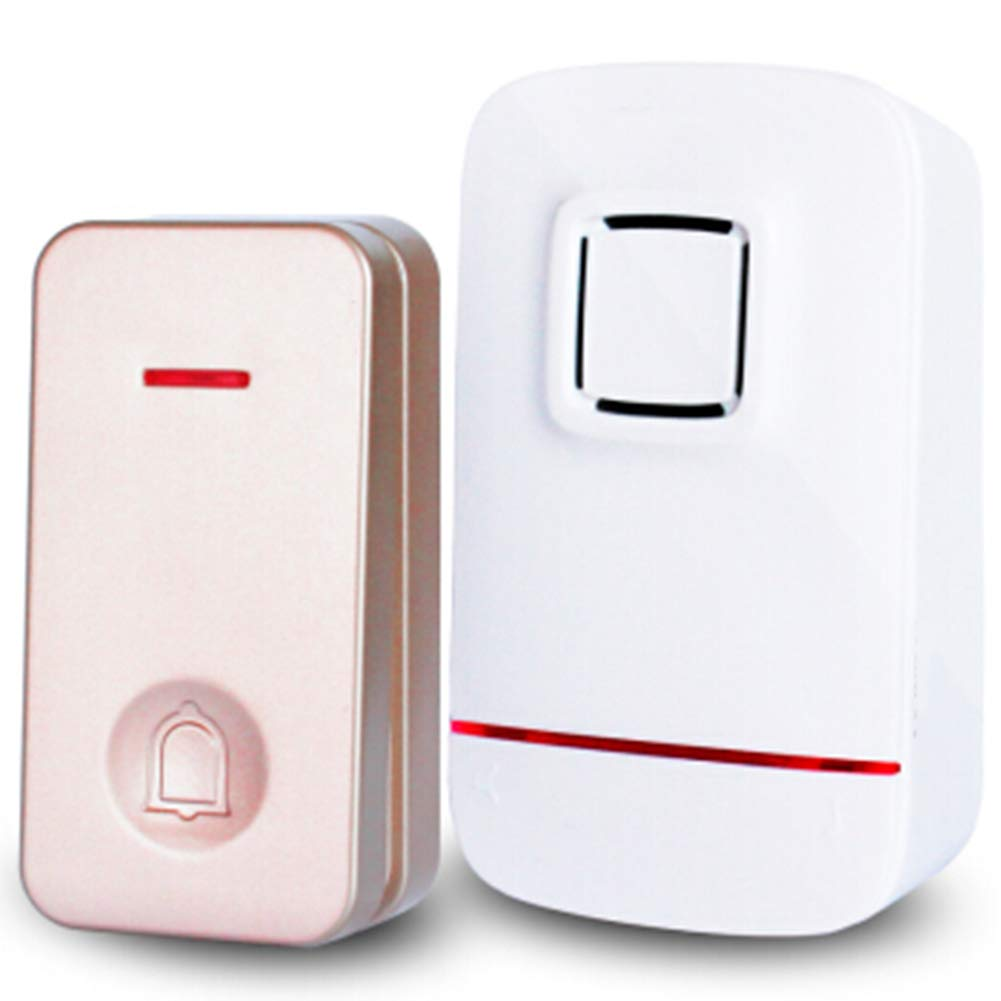 gold1Transmitter+1Receiver Home Wireless Doorbell, Plug-in Receiver + Transmitter (Self-Powered), ABS Material, Home Company,gold1transmitter+1Receiver