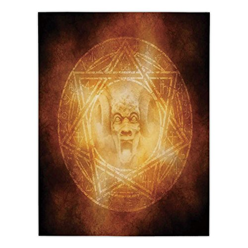 iPrint Satin Rectangular Tablecloth [ Horror House Decor,Demon Trap Symbol Logo Ceremony Creepy Ritual Fantasy Paranormal Design,Orange ] Dining Room Kitchen Table Cloth Cover by iPrint