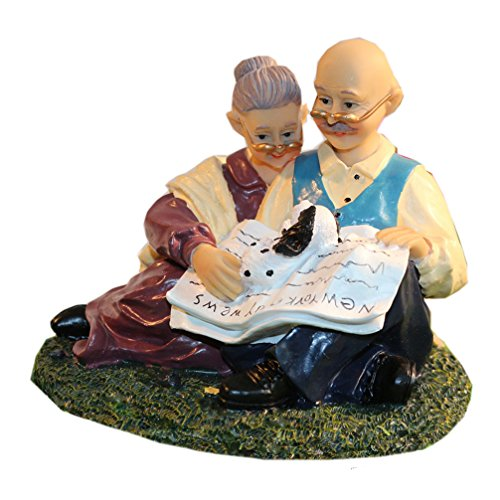 Coostyle Reading Couple Figurines with Dog, Loving Old Age Life Resin Home Decorations with Gift Card for Mother's day Father's day Anniversary (Reading Together)
