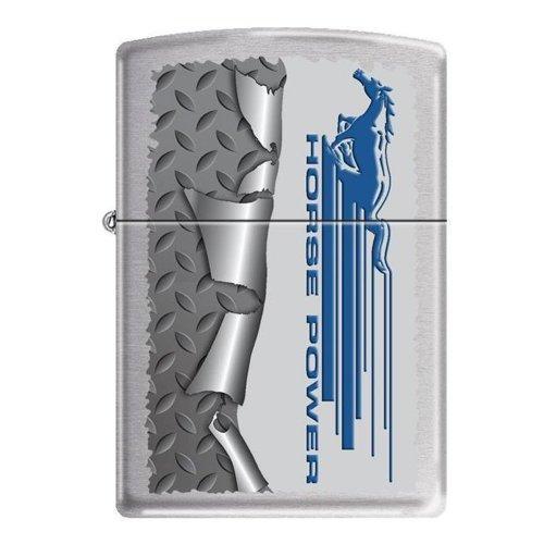 (Zippo Ford Mustang Horsepower Rolled Diamondplate Custom Lighter New Release)