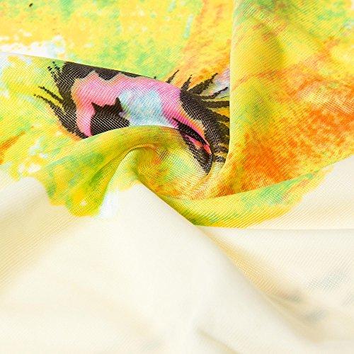 Grande cuello Flexible Sin Vestido Playa Maxi Negro Cintura Elegante Estampado Vestidos V Verde Beauty7 Para Moda Vacaciones Bohemia Flores Manga Talla Largo Mujer De Verano Beige 5xTOSZ