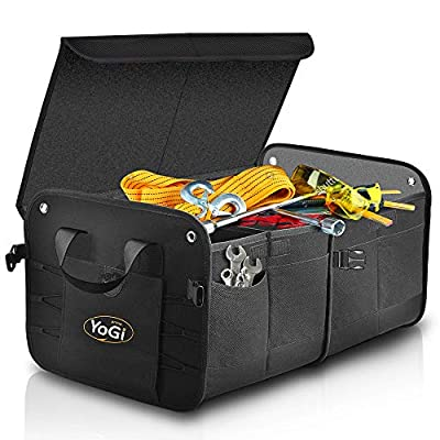 YoGi Prime Trunk and Backseat car Organizer, Trunk Storage Organizer Will Provides You The Most Storage Space Possible, Use It As A Back Seat Storage Car Cargo Organizer Black (Box Black): Automotive