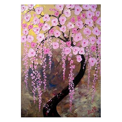 - VKTECH Pink Floral 5D DIY Diamond Painting Kits Full Round Rhinestones Mosaic Embroidery Needlework Cross Stitch Art Craft Home Decor 16 x 12 inch