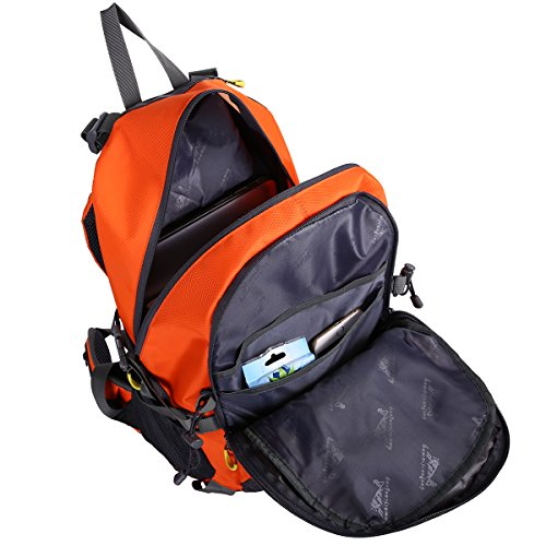 HWJIANFENG 40L Mochilas de Senderismo Hombre Portatil Impermeable de Nilon Mochilas de Excursion para Viajes Mochilas Unisex de Ciclismo (Azul) Naranja