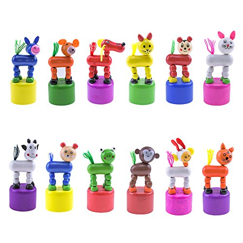 Press Base - HSOMiD Kids Animal Push Up Press Base Toy,Chinese Traditional Thumb Puppet,Rocking Wooden Toy,Pack of 12