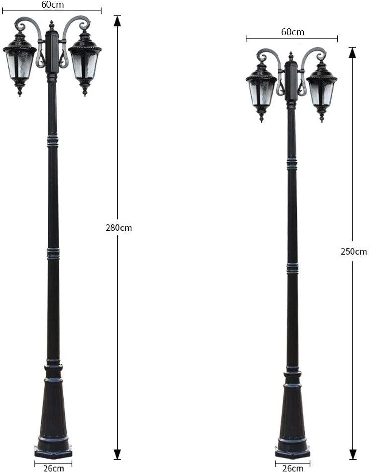 IP55 Rated Lawn Pillar Post Lamp Outdoor Vintage Waterproof Gate Column Lantern High Pole Landscape Street Light IP55 Die-cast Aluminum Color : Black, Size : 2.5m
