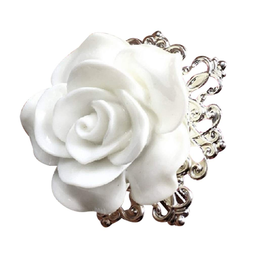 Big Rose Flower Napkin Ring Serviette Holder Party Banquet Dinner Table Decor - White bjlongyi
