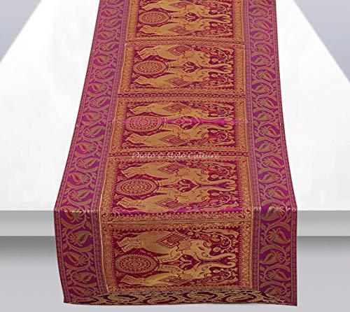 Stylo Culture Elefante Brocado Camino De Mesa Moderno Jacquard para Comedor Magenta Purpura Decoracion De La Mesa Decorativo Tradicional Floral | 60 Inch (152 x 40 cm)
