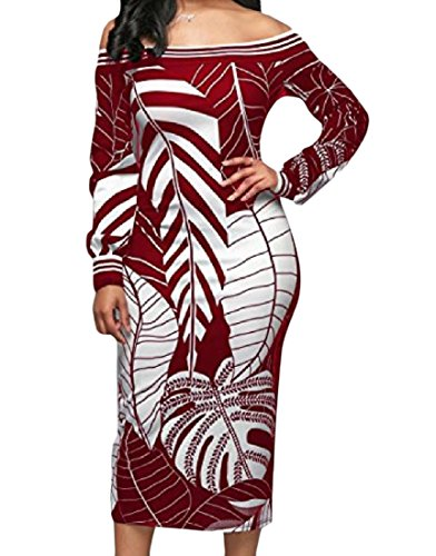 Partito donne Lunga Vestito spalla Manica Vino Rosso Casuale Da Modellati Off Coolred Sottile w01qd7wg
