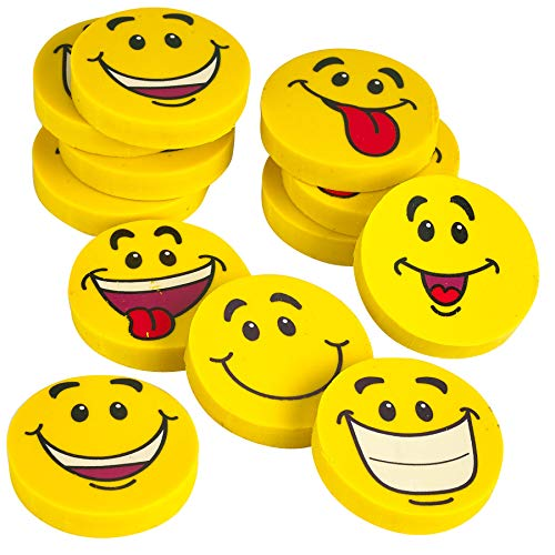 Kicko Large Smile Face Emoji Erasers - Pack of 12-1.25 inches Assorted Emoticons Fun Smiley Erasers - for Kids, Great Party Favors, Bag Stuffers, Fun, Gift, School Prizes School Supplies ()