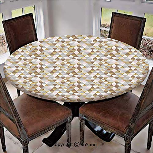 Elastic Edged Polyester Fitted Table Cover,Triangles with Marble Design Soft Color Palette Mosaic Pattern Abstract Modern Decorative,Fits up 56
