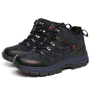 GOMNEAR Hiking Boots Men Trekking Shoes High Top Winter Warm Fully Fur Lining Climbing Sneaker,Blue-46