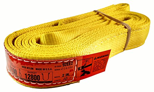 "DD Sling (USA Made). 2"" wide X (4' to 20' lengths) in Listing! 2 Ply Twisted Eye, Nylon Lifting Slings, Eye & Eye, Heavy Duty (900 webbing), 6,400 lbs Vertical, 5,100 Choker, 12,800 Basket Load Capacity (2inX10ft)"